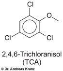 Abb. 15.6: 2,4,6-Trichloranisol, verantwortlich  für den Korkton